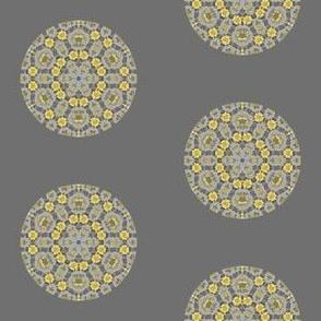 Yellow Textured Dot on Gray