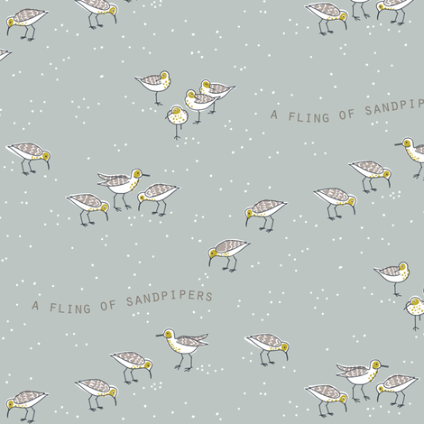 FLING of sandpipers 4 fabric by kheckart on Spoonflower - custom fabric
