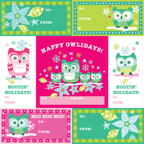 Happy Owlidays! Gift Tags fabric by pinkowlet on Spoonflower - custom fabric