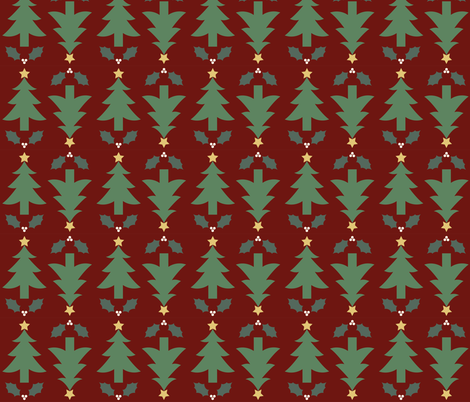 Rustic Christmas Trees and Holly fabric by juliematthews on Spoonflower - custom fabric