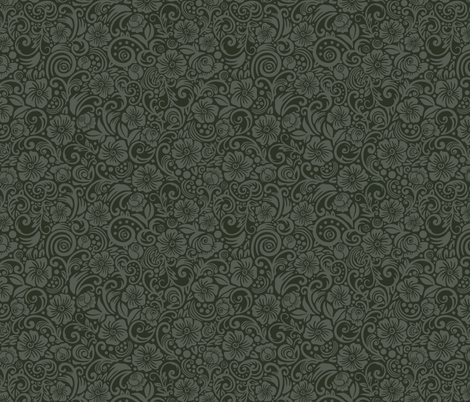 Dark Floral Olive Gray fabric by dunnspun on Spoonflower - custom fabric