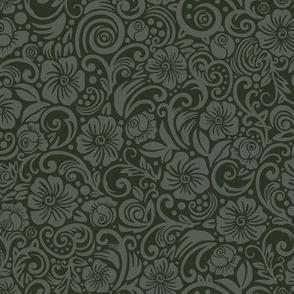 Dark Floral Olive Gray
