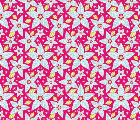 White Poinsettia Stars fabric by pinkowlet on Spoonflower - custom fabric