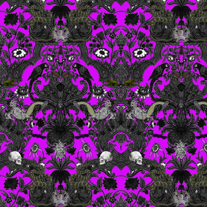 This Is Halloween! Haunted House Damask ~ Lurid Purple ~ Medium