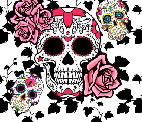 Sugar Skulls Black Vines Pink Roses Wallpaper Designed By