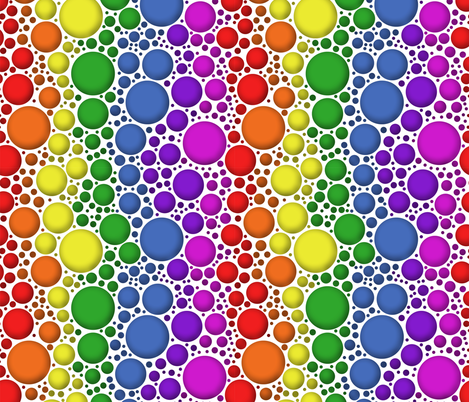 Rainbow bubbles with shading fabric by sixsleekswans on Spoonflower - custom fabric