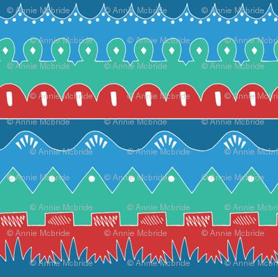 Doodle Waves Blue/Red