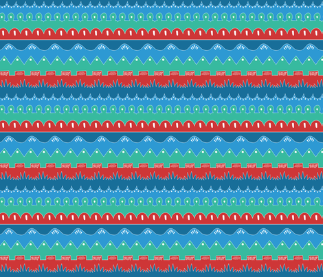 Doodle Waves Blue/Red fabric by anniemcbridedesign on Spoonflower - custom fabric