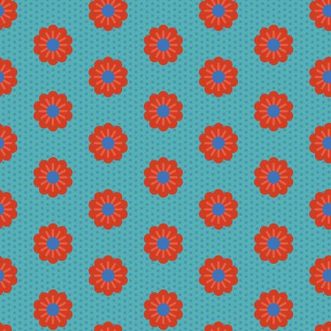 nordic floral parade aqua fabric by teresamagnuson on Spoonflower - custom fabric
