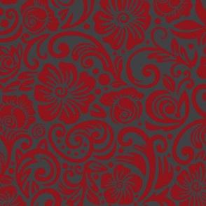 Scarlet Charcoal Floral