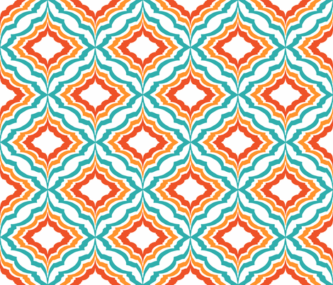 Moroccan Ogee teal & Orange fabric by kirstenkatz on Spoonflower - custom fabric