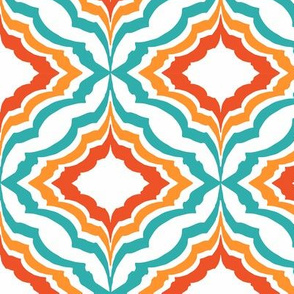 Moroccan Ogee teal & Orange