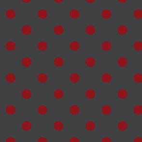 Scarlet Dots on Charcoal Gray