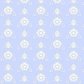 Flower Damask 3- Blue