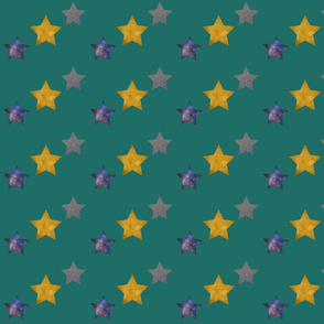 Teal Photographic Stars Pattern