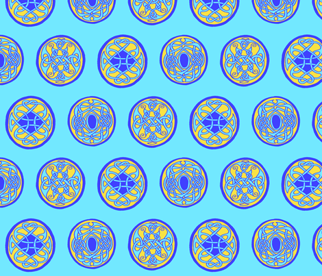 3 Celtic Rounds Blue fabric by ingridthecrafty on Spoonflower - custom fabric