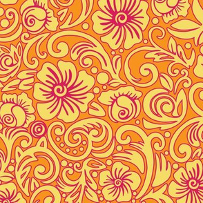 Tangerine Floral Dream