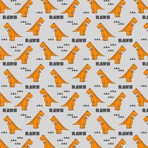 modern dino - trex orange