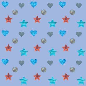 Blue Photographic Kids Pattern
