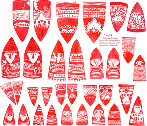 Gnome Ornament Fat Quarter fabric by joonatan15@yahoo_com on Spoonflower - custom fabric