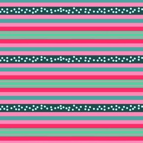 FNB3 - Fizz-n-Bubble Stripes in Red - Pink - Green - Crosswise