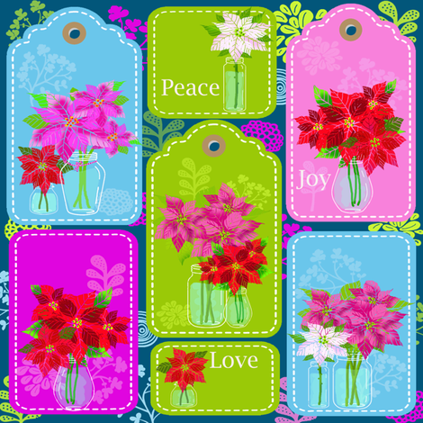 Fresh Picked Wild Poinsettia gift tags fabric by honoluludesign on Spoonflower - custom fabric