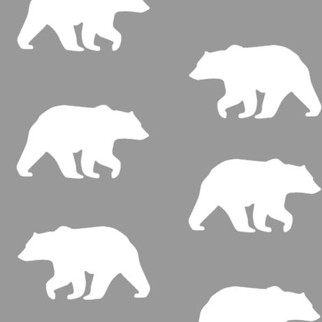 Bear Hike // Grey fabric by buckwoodsdesignco on Spoonflower - custom fabric