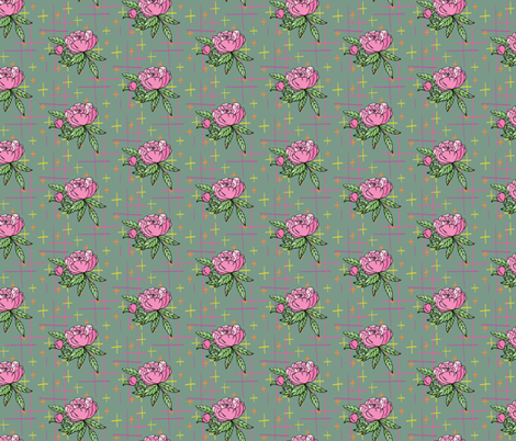 Pink Peony on green background fabric by jaanahalme on Spoonflower - custom fabric