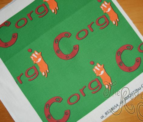Cardigan Welsh Corgi sploot name block - Christmas
