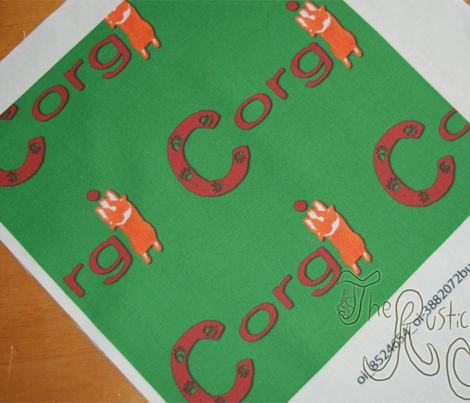 Pembroke Welsh Corgi sploot name block - Christmas