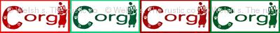 Pembroke Welsh Corgi sploot Christmas name tags A