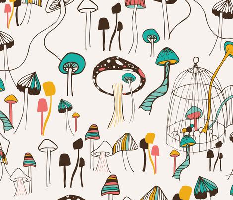 Mushroom Meeting fabric by patriciasodre on Spoonflower - custom fabric