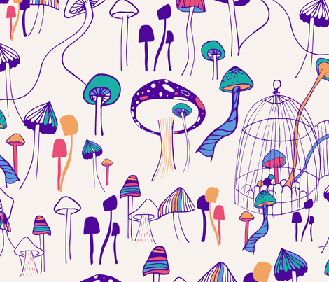 Mushroom Meeting II fabric by patriciasodre on Spoonflower - custom fabric
