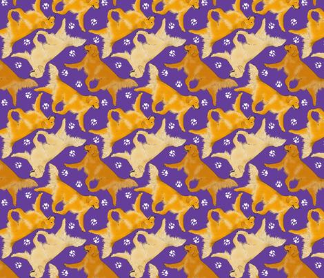 Trotting Golden Retrievers and paw prints - purple fabric by rusticcorgi on Spoonflower - custom fabric