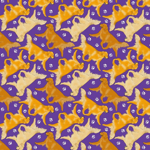 Trotting Golden Retrievers and paw prints - purple