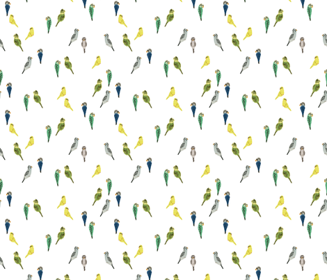 tiny budgies fabric by valeri_nick on Spoonflower - custom fabric