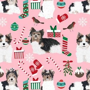 biewer terrier pink christmas fabric cute toy breed dog design cute yorkie toy dogs fabric