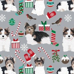 biewer terrier christmas dogs fabric cute christmas dog design best christmas fabrics