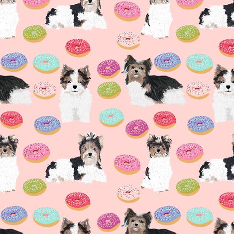 Biewer Terrier christmas donuts fabric cute pink donuts fabric cute girls sweet dogs fabric fabric by petfriendly on Spoonflower - custom fabric