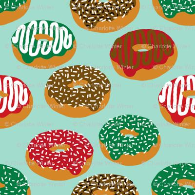 Christmas Holiday donuts mint baking christmas sweet treats fabric pattern print christmas fabric