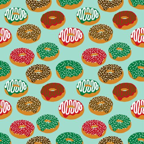 Christmas Holiday donuts mint baking christmas sweet treats fabric pattern print christmas fabric fabric by charlottewinter on Spoonflower - custom fabric