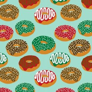 Christmas Holiday donuts mint baking christmas sweet treats fabric pattern print christmas fabric
