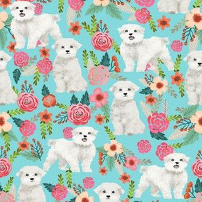 maltese florals fabric cute maltese dog florals vintage style dog flowers maltese toy breeds fabric