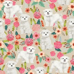 maltese dog florals fabric cute toy breed fabrics toy dogs design maltese dogs fabric