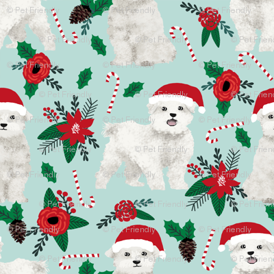 Maltese Christmas Poinsettia Fabric Cute Christmas Dogs Fabric Xmas
