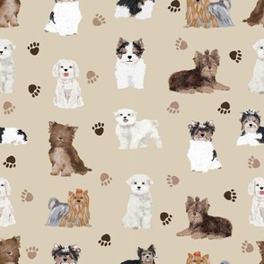 chocolate yorkies, maltese, biewer terriers cute dogs fabric cute dog design
