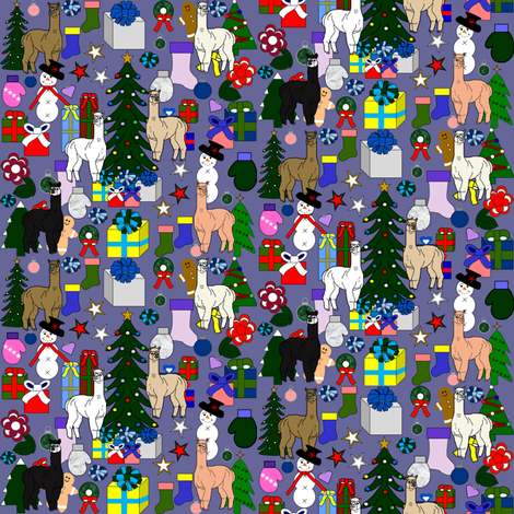 Alpaca Christmas Fabric 12 Blue fabric by lworiginals on Spoonflower - custom fabric