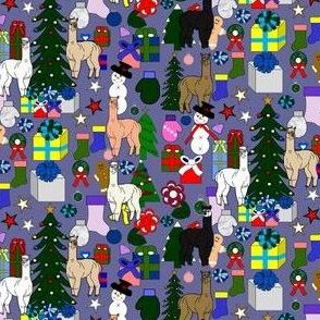 Alpaca Christmas Fabric 12 Blue