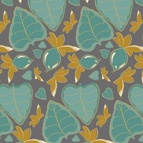 Tropical Plant Leaf Leaves Teal Green Gray grey Gold Mustard Yellow Tree Forest  _ Miss Chiff Designs