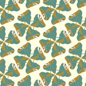 Teal Gold Tropical Leaf Leaves on cream_Miss Chiff Designs